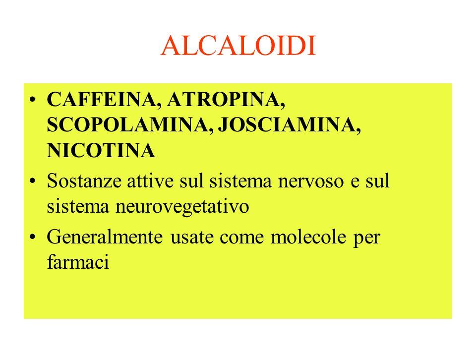 ALCALOIDI CAFFEINA, ATROPINA, SCOPOLAMINA, JOSCIAMINA, NICOTINA Sostanze attive sul sistema nervoso e sul sistema neurovegetativo Generalmente usate come molecole per farmaci