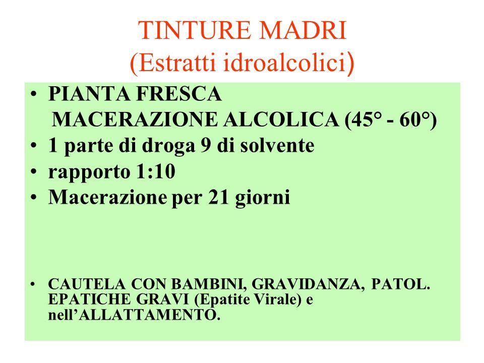 TINTURE MADRI (Estratti idroalcolici ) PIANTA FRESCA MACERAZIONE ALCOLICA (45° - 60°) 1 parte di droga 9 di solvente rapporto 1:10 Macerazione per 21 giorni CAUTELA CON BAMBINI, GRAVIDANZA, PATOL.
