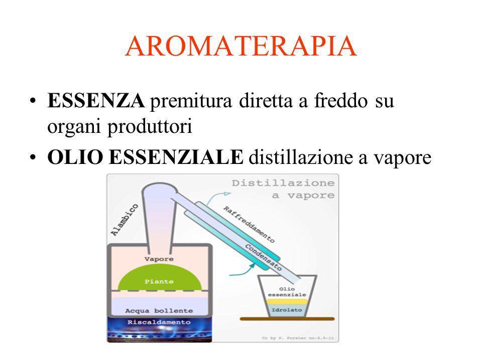 AROMATERAPIA ESSENZA premitura diretta a freddo su organi produttori OLIO ESSENZIALE distillazione a vapore