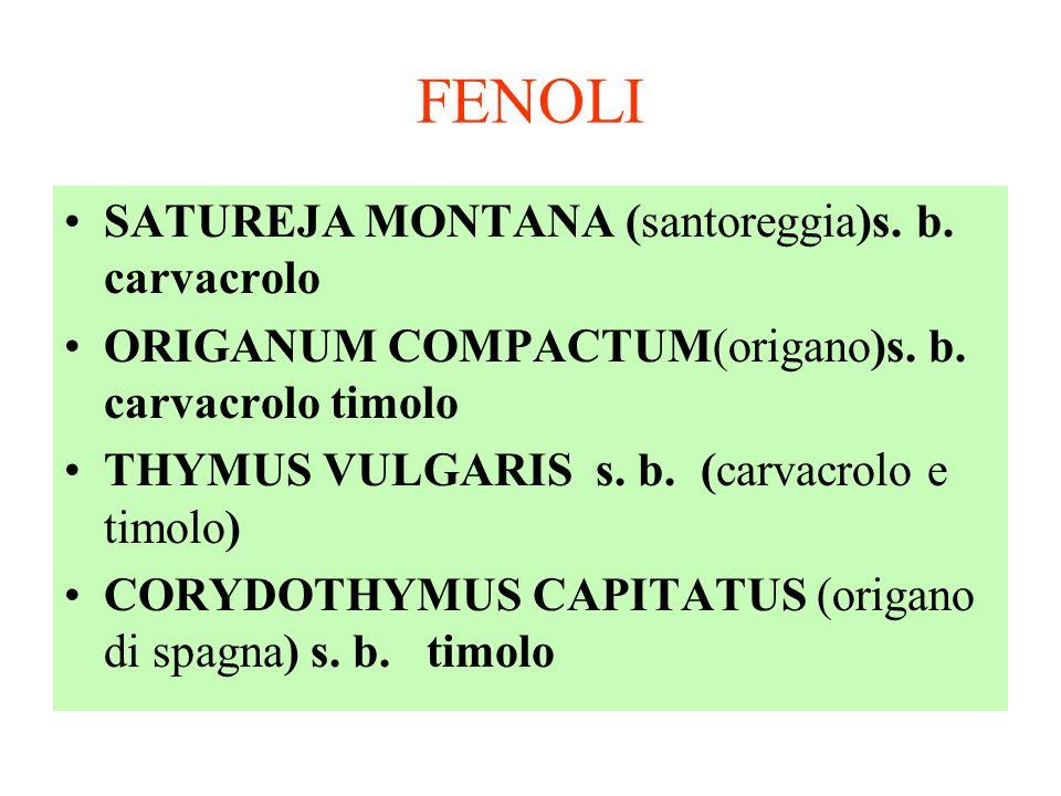 FENOLI SATUREJA MONTANA (santoreggia)s.b. carvacrolo ORIGANUM COMPACTUM(origano)s.