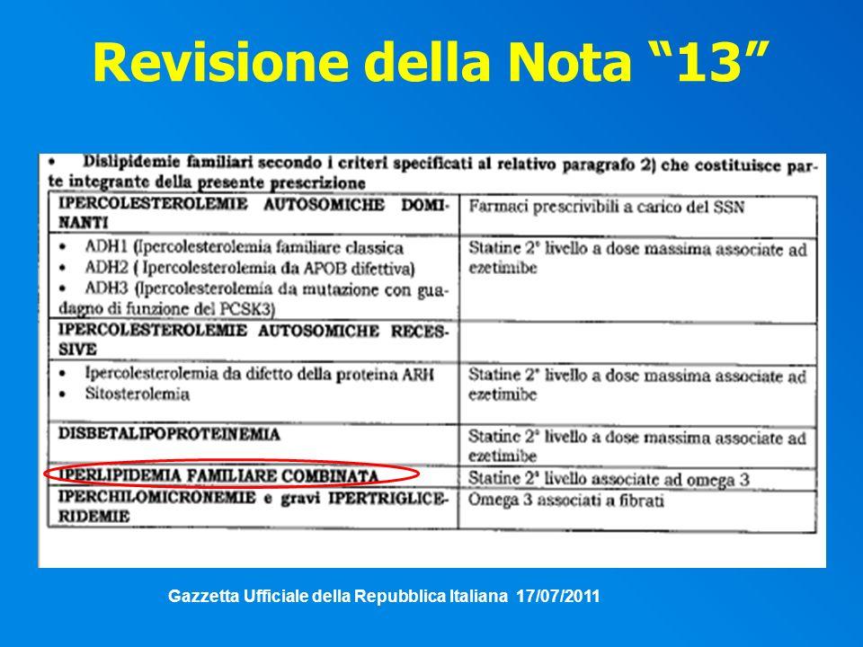 Revisione della Nota 13 Gazzetta Ufficiale della Repubblica Italiana 17/07/2011