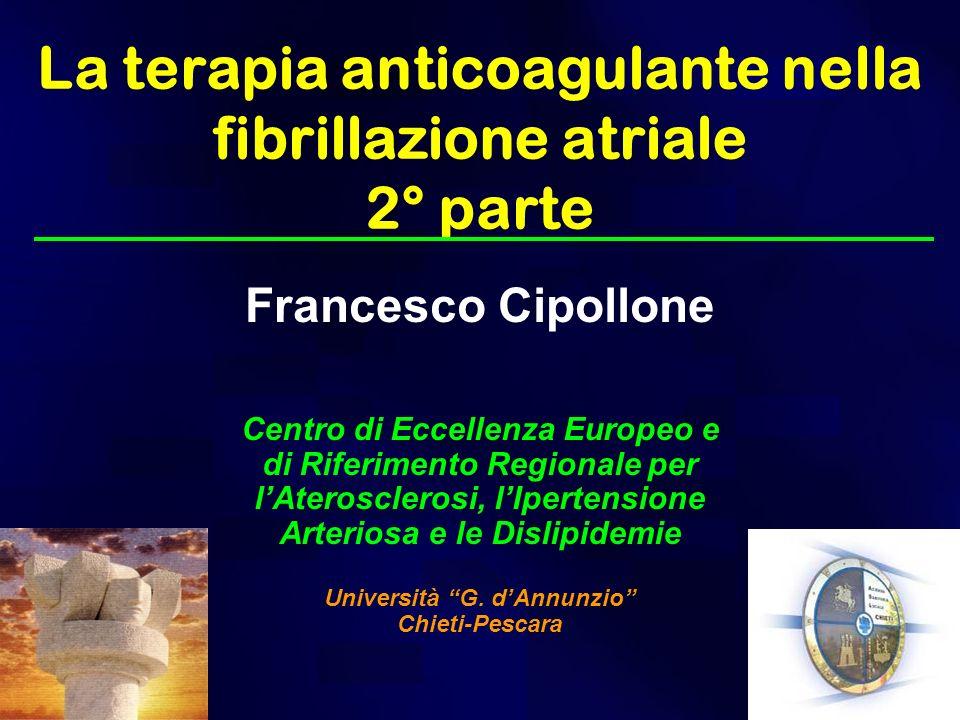 La terapia anticoagulante nella fibrillazione atriale 2° parte Francesco Cipollone Centro di Eccellenza Europeo e di Riferimento Regionale per lAteros