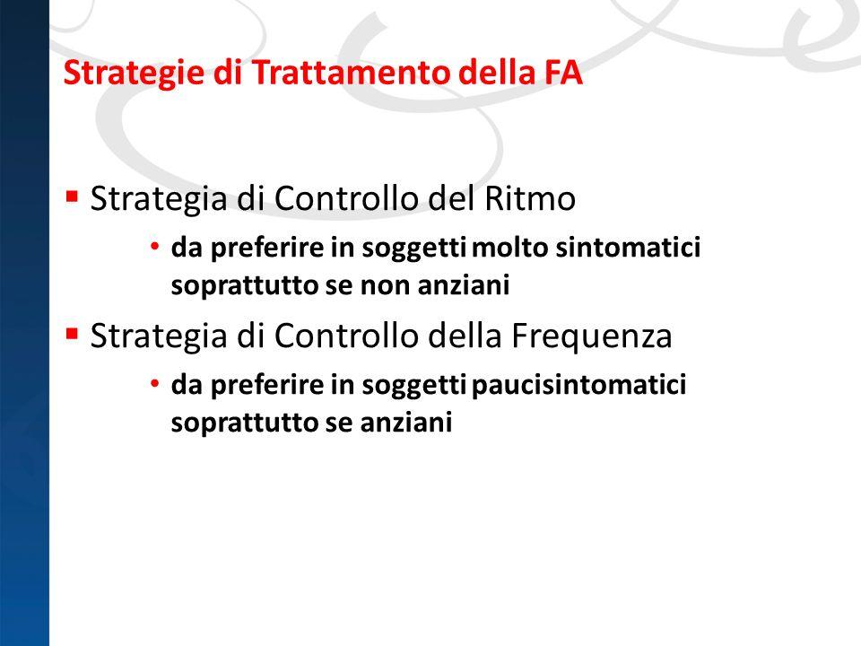 Strategie di Trattamento della FA Strategia di Controllo del Ritmo da preferire in soggetti molto sintomatici soprattutto se non anziani Strategia di