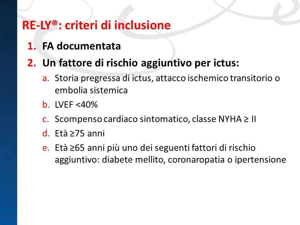 1.FA documentata 2.Un fattore di rischio aggiuntivo per ictus: a.Storia pregressa di ictus, attacco ischemico transitorio o embolia sistemica b.LVEF <