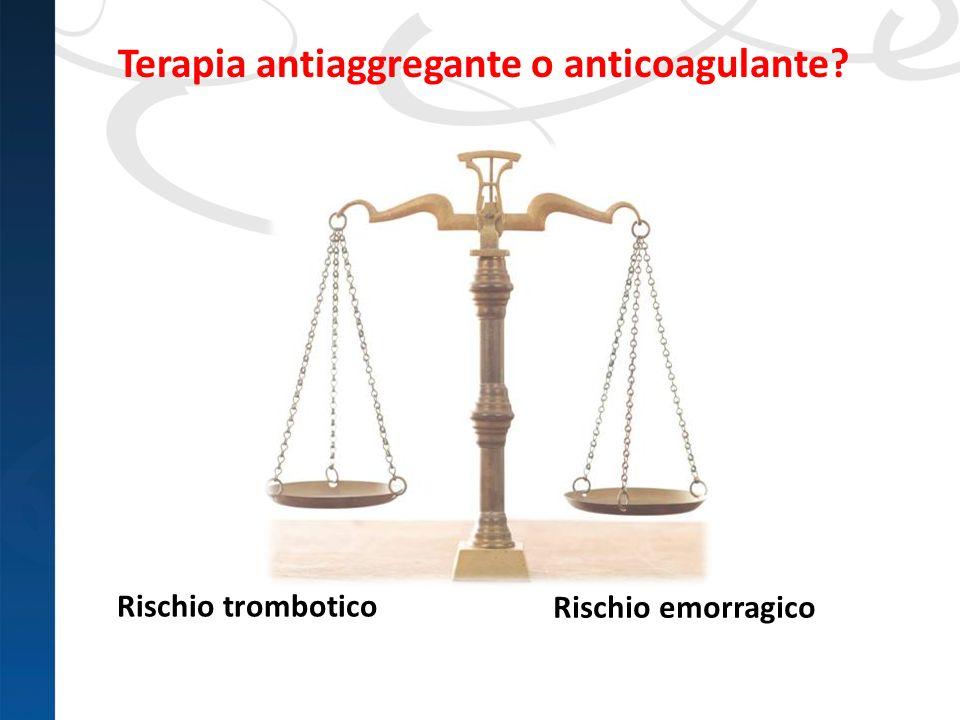Rischio trombotico Terapia antiaggregante o anticoagulante? Rischio emorragico