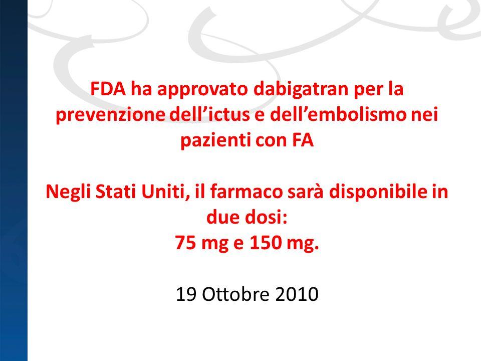 FDA ha approvato dabigatran per la prevenzione dellictus e dellembolismo nei pazienti con FA Negli Stati Uniti, il farmaco sarà disponibile in due dos