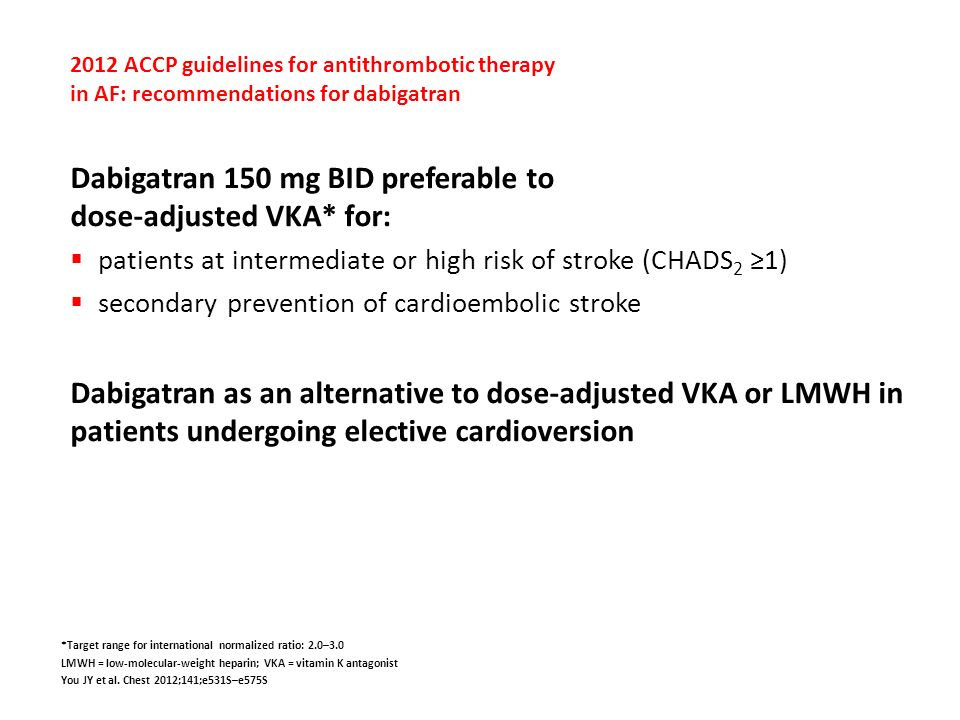 2012 ACCP guidelines for antithrombotic therapy in AF: recommendations for dabigatran Dabigatran 150 mg BID preferable to dose-adjusted VKA* for: pati