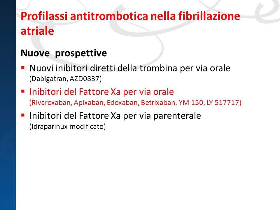 Profilassi antitrombotica nella fibrillazione atriale Nuove prospettive Nuovi inibitori diretti della trombina per via orale (Dabigatran, AZD0837) Ini