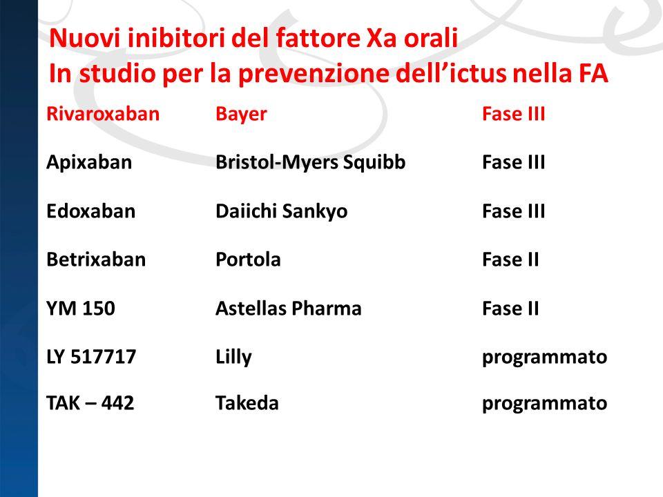 Nuovi inibitori del fattore Xa orali In studio per la prevenzione dellictus nella FA RivaroxabanBayerFase III ApixabanBristol-Myers SquibbFase III Edo