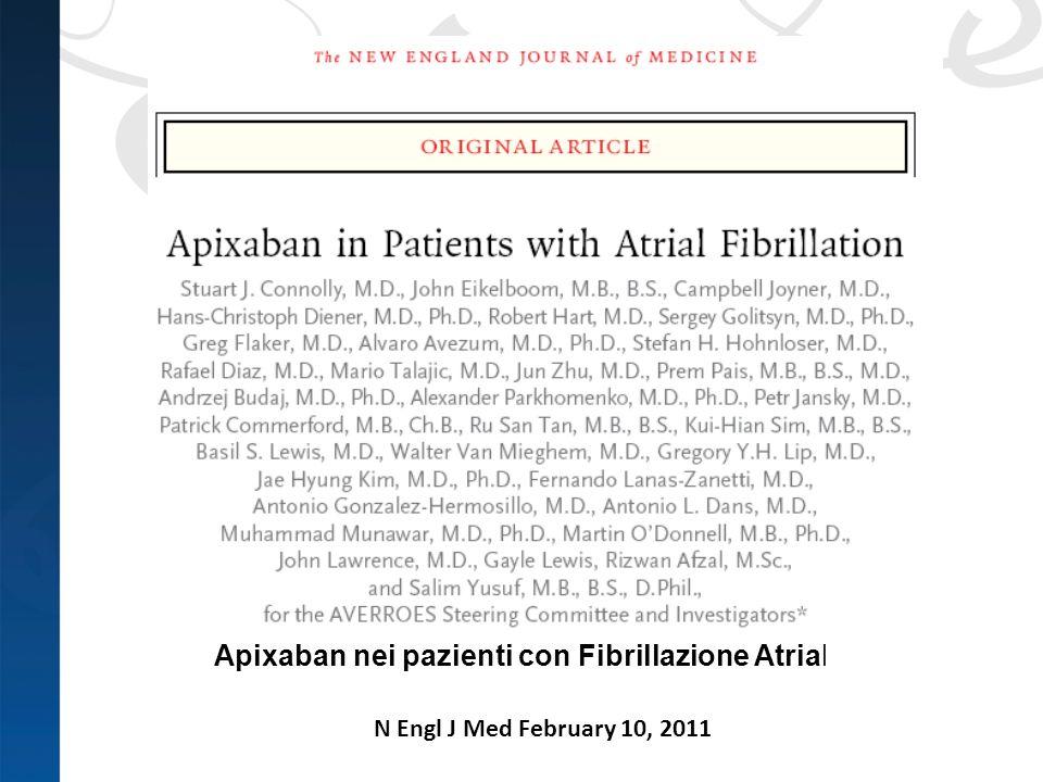 N Engl J Med February 10, 2011 Apixaban nei pazienti con Fibrillazione Atriale
