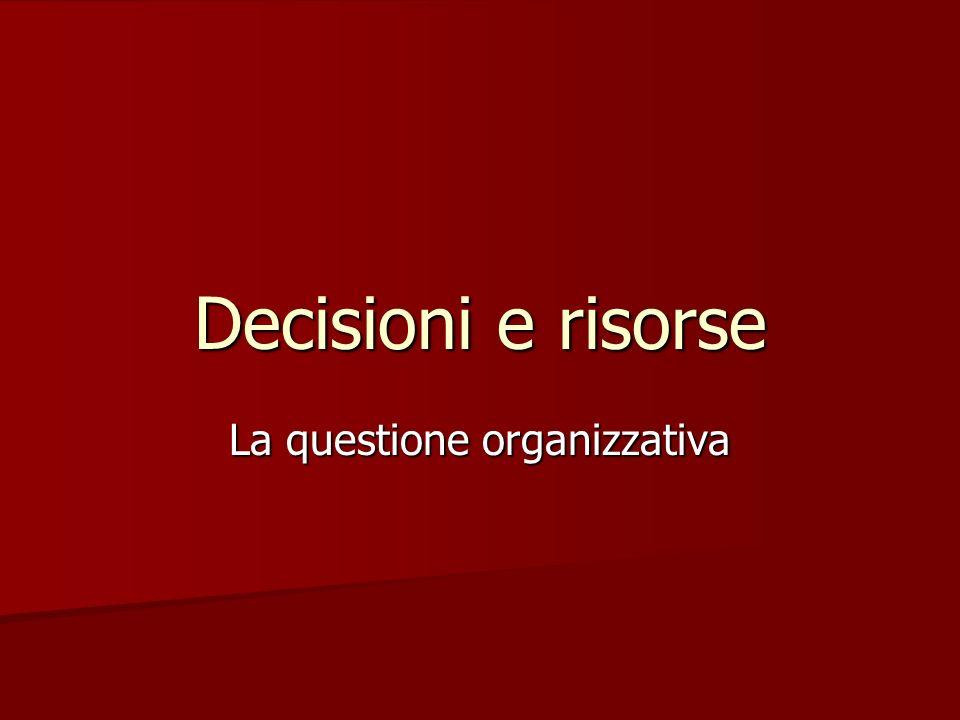 Decisioni e risorse La questione organizzativa