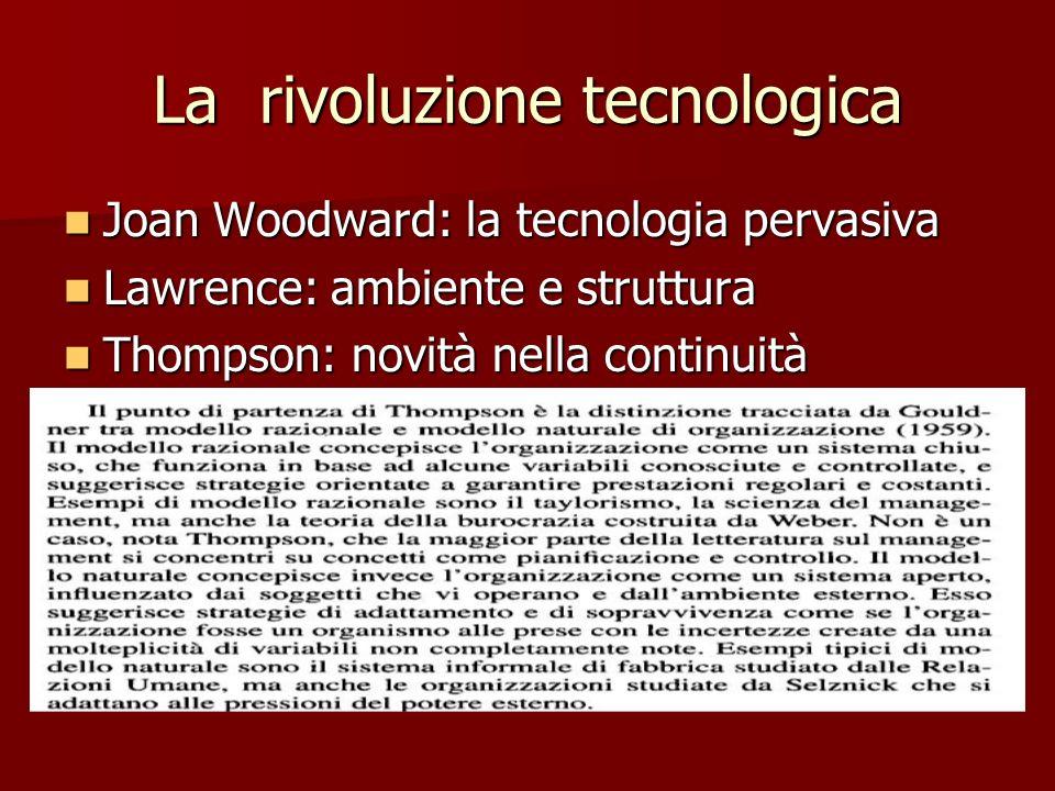 La rivoluzione tecnologica Joan Woodward: la tecnologia pervasiva Joan Woodward: la tecnologia pervasiva Lawrence: ambiente e struttura Lawrence: ambiente e struttura Thompson: novità nella continuità Thompson: novità nella continuità