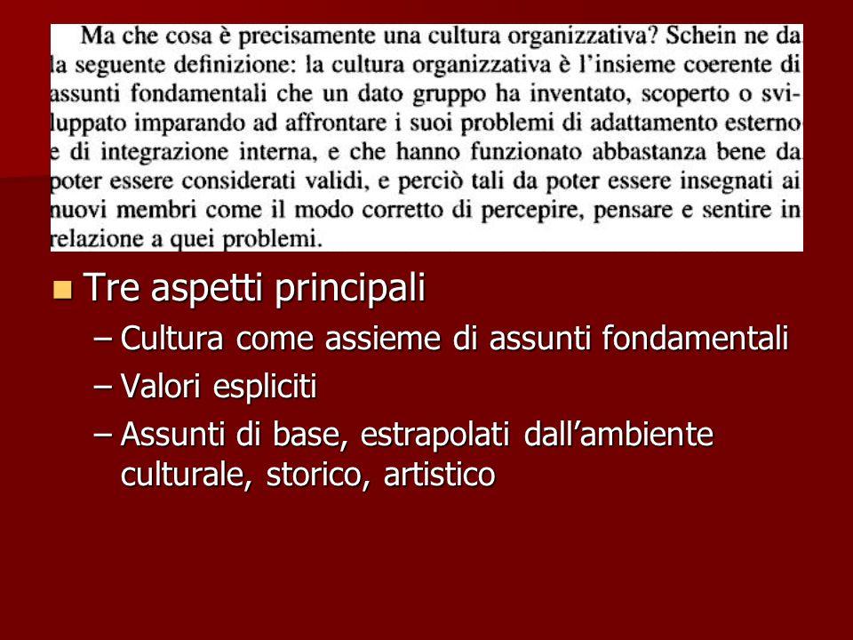 Tre aspetti principali Tre aspetti principali –Cultura come assieme di assunti fondamentali –Valori espliciti –Assunti di base, estrapolati dallambiente culturale, storico, artistico