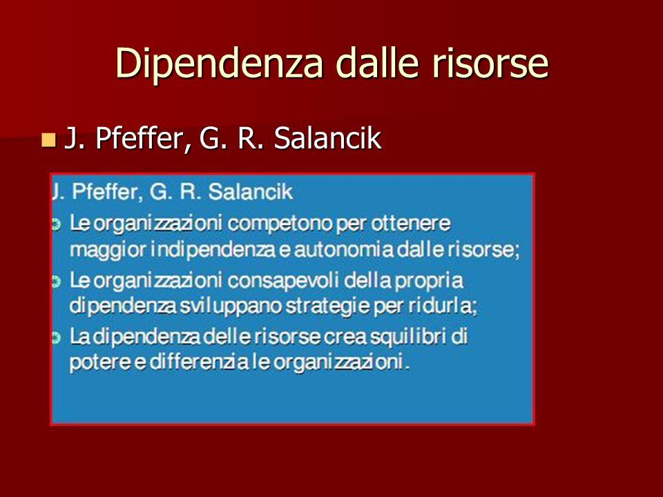 Dipendenza dalle risorse J. Pfeffer, G. R. Salancik J. Pfeffer, G. R. Salancik
