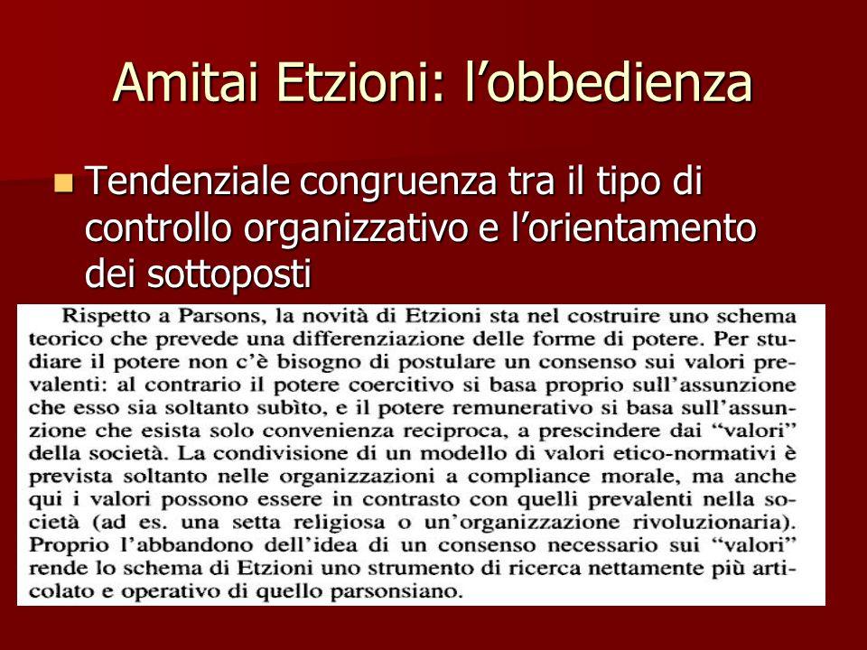 Amitai Etzioni: lobbedienza Tendenziale congruenza tra il tipo di controllo organizzativo e lorientamento dei sottoposti Tendenziale congruenza tra il tipo di controllo organizzativo e lorientamento dei sottoposti