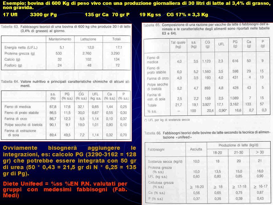 Esempio: bovina di 600 Kg di peso vivo con una produzione giornaliera di 30 litri di latte al 3,4% di grasso, non gravida. 17 Ufl3300 gr Pg135 gr Ca70