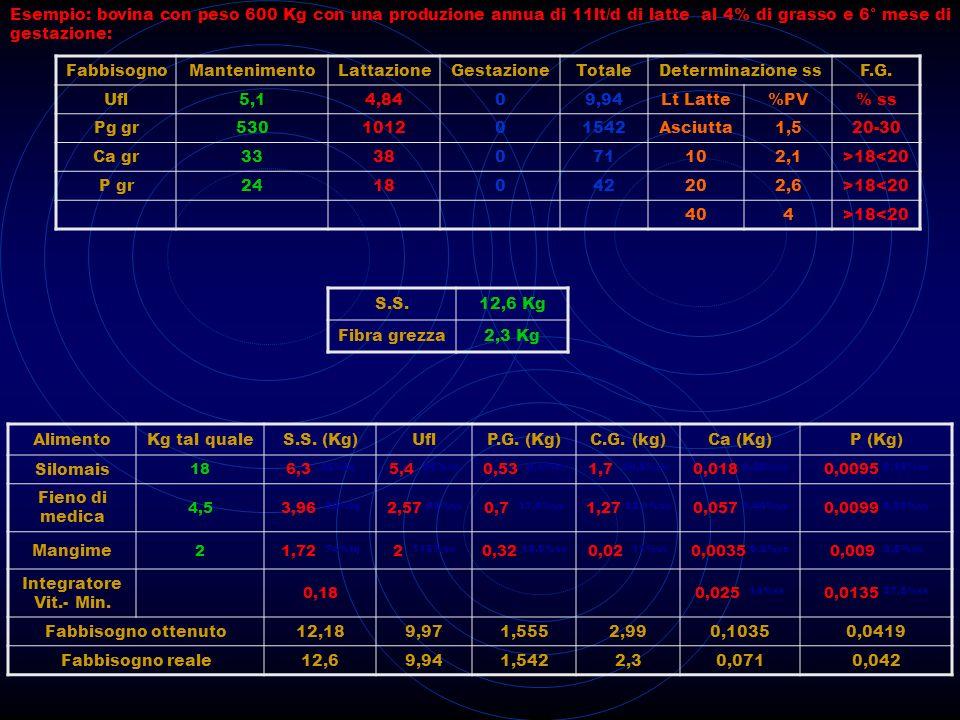 BOVINI DA CARNE AlimentoKgSs %UF/Kg ssAmido (% ss)PG (% ss)Ss KgUFAmido grPG GR Fieno2870.517.51.70.917131 F.