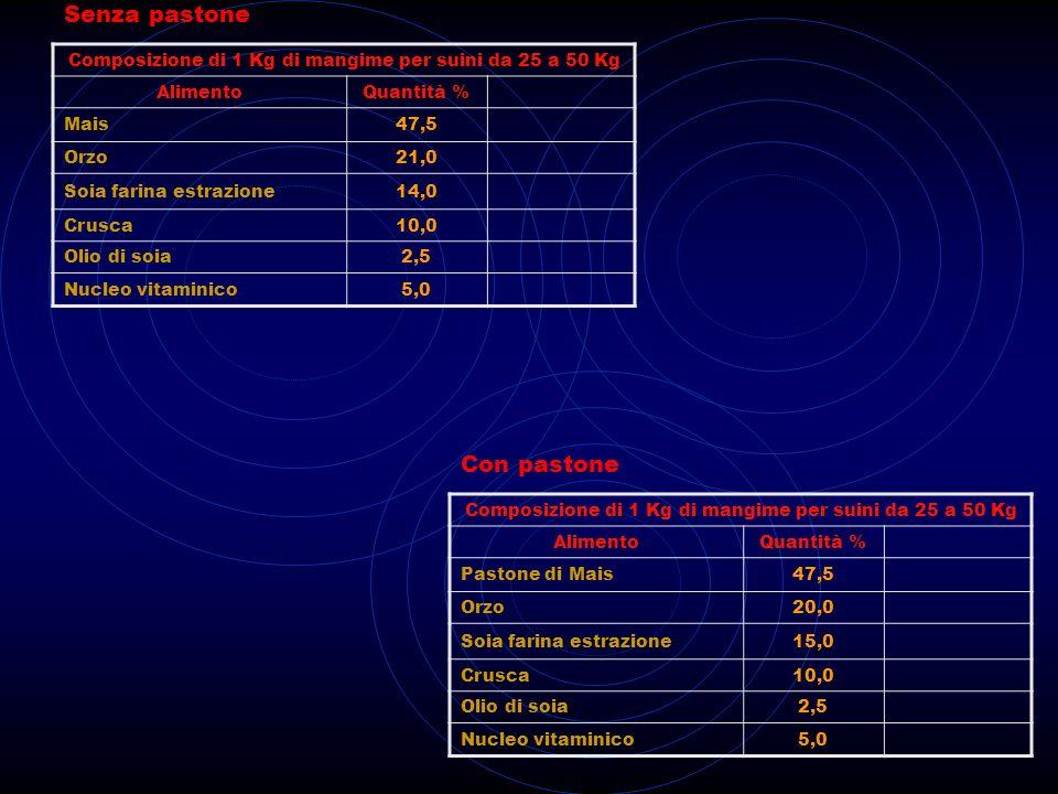 Composizione di 1 Kg di mangime per suini da 50 a 100 Kg AlimentoQuantità % Mais42,0 Orzo21,0 Soia farina estrazione19,0 Crusca14,0 Nucleo vitaminico4,0 Composizione di 1 Kg di mangime per suini da 50 a 100 Kg AlimentoQuantità % Pastone di Mais45,0 Orzo20,0 Soia farina estrazione18,0 Crusca12,0 Nucleo vitaminico4,0 Senza pastone Con pastone