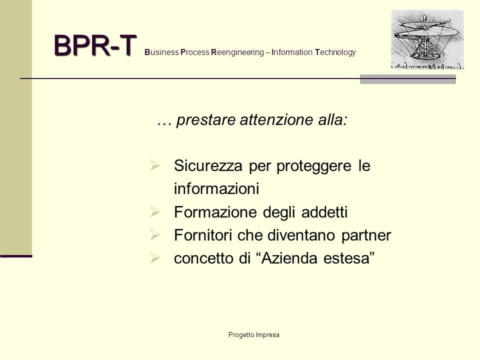 Progetto Impresa BPR-T BPR-T Business Process Reengineering – Information Technology Dalla INTRANET … Comunicazione interna Posta elettronica … alla E
