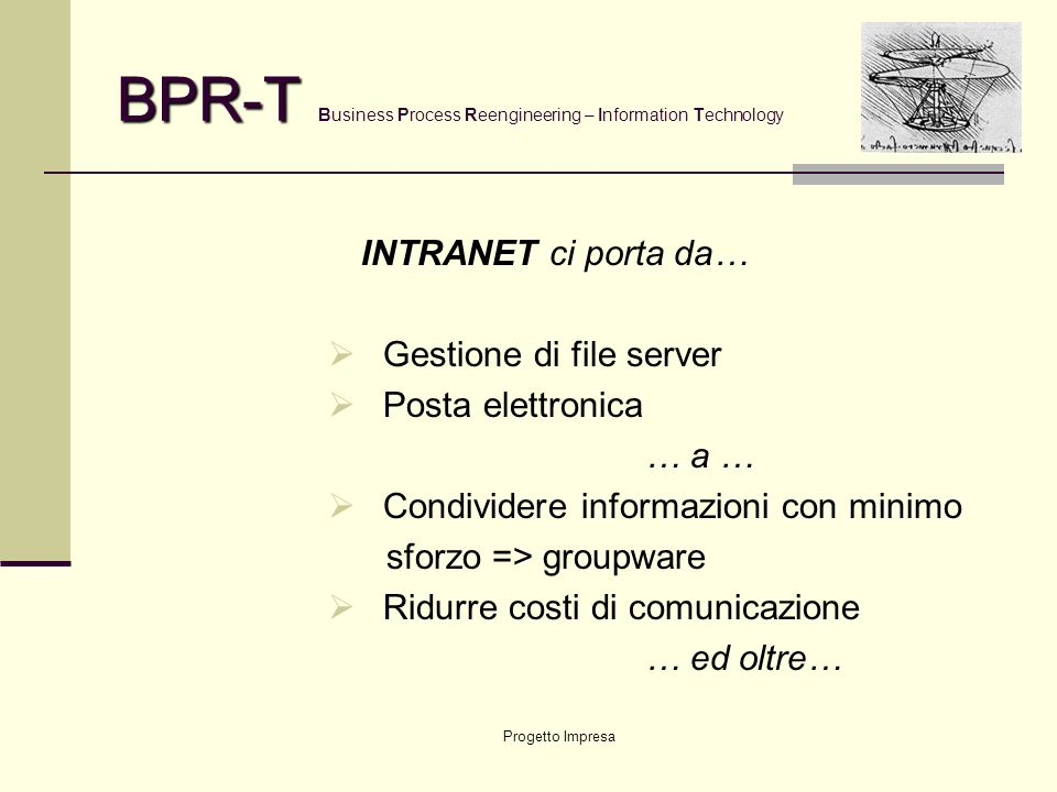 Progetto Impresa BPR-T BPR-T Business Process Reengineering – Information Technology … ed ecco nascere … COMITATO TECNICO Referente Aziendale Cliente Referente Organizzativo ER Services Referente Tecnologico GESCAD AziendaCliente BPR – T Gruppo di Progetto
