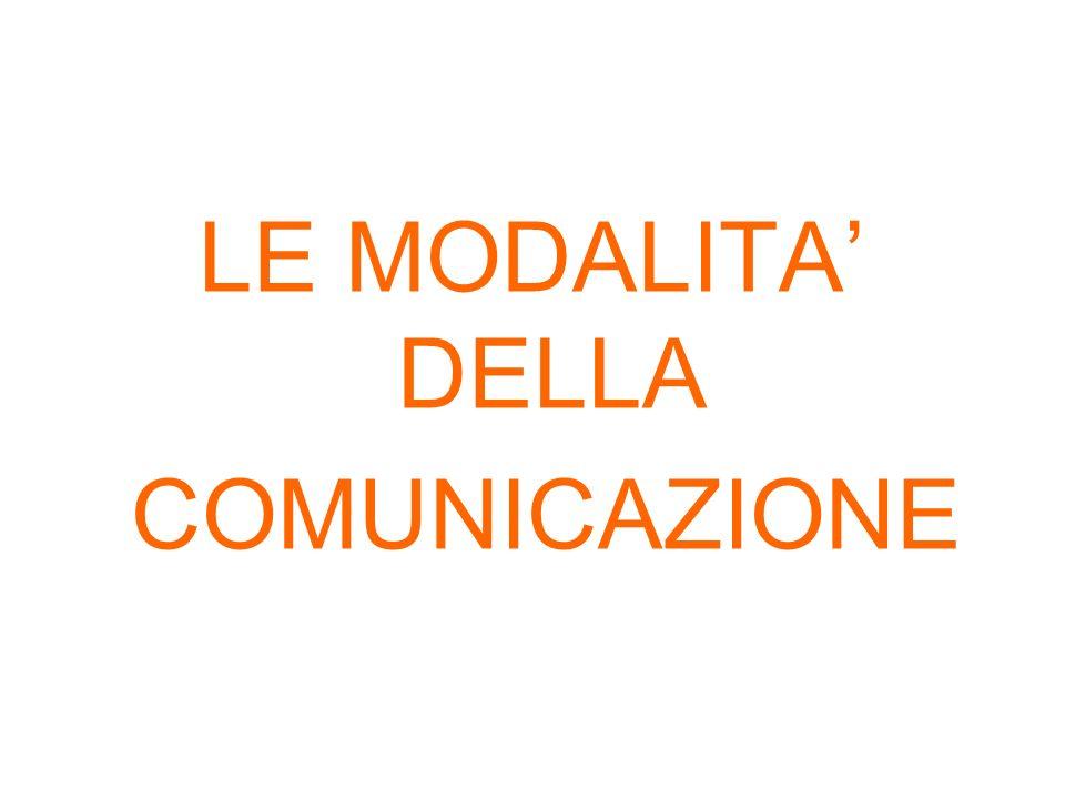 LE MODALITA DELLA COMUNICAZIONE
