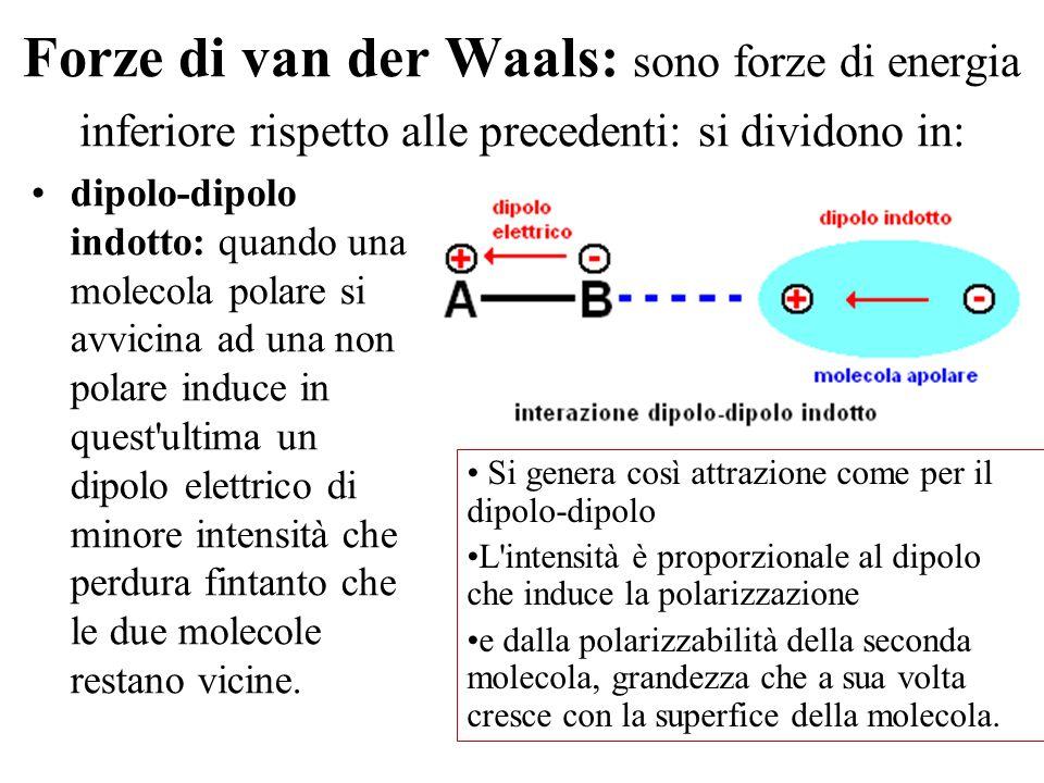 Forze di van der Waals: sono forze di energia inferiore rispetto alle precedenti: si dividono in: dipolo-dipolo indotto: quando una molecola polare si avvicina ad una non polare induce in quest ultima un dipolo elettrico di minore intensità che perdura fintanto che le due molecole restano vicine.