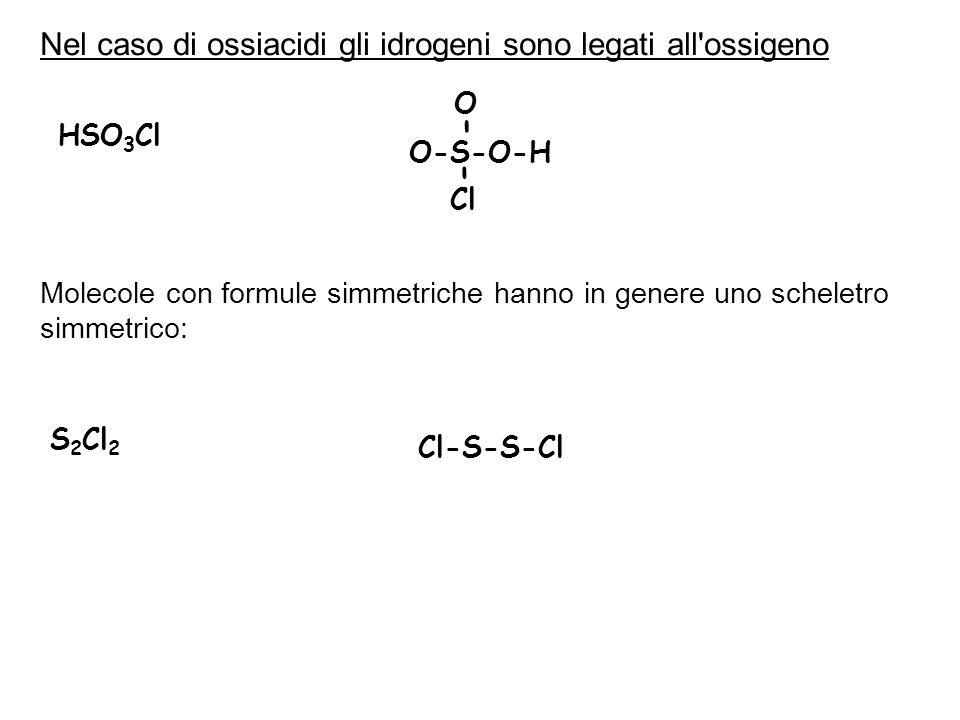 Nel caso di ossiacidi gli idrogeni sono legati all ossigeno HSO 3 Cl O-S-O-H O Cl - - Molecole con formule simmetriche hanno in genere uno scheletro simmetrico: S 2 Cl 2 Cl-S-S-Cl