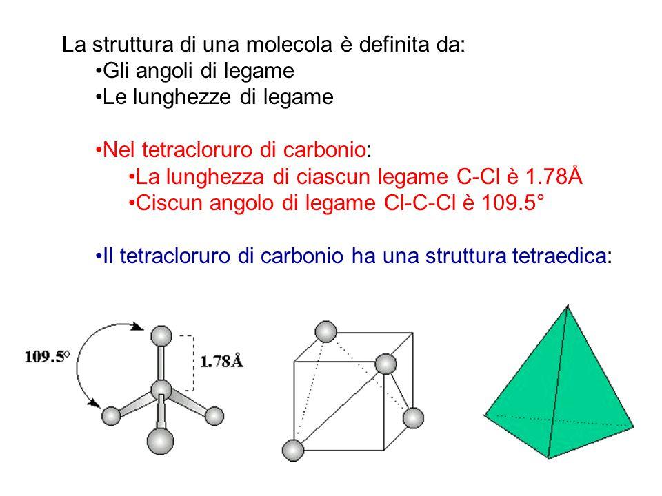 La struttura di una molecola è definita da: Gli angoli di legame Le lunghezze di legame Nel tetracloruro di carbonio: La lunghezza di ciascun legame C-Cl è 1.78Å Ciscun angolo di legame Cl-C-Cl è 109.5° Il tetracloruro di carbonio ha una struttura tetraedica: