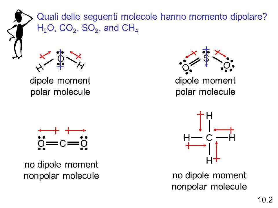 Quali delle seguenti molecole hanno momento dipolare? H 2 O, CO 2, SO 2, and CH 4 O H H dipole moment polar molecule S O O CO O no dipole moment nonpo