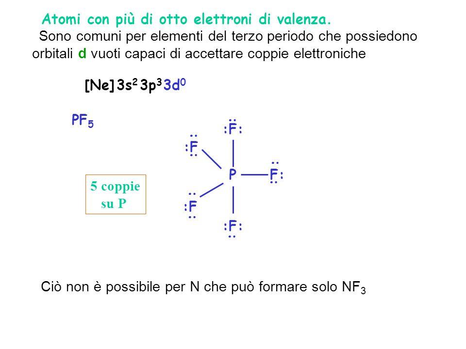 2. Atomi con più di otto elettroni di valenza. Sono comuni per elementi del terzo periodo che possiedono orbitali d vuoti capaci di accettare coppie e