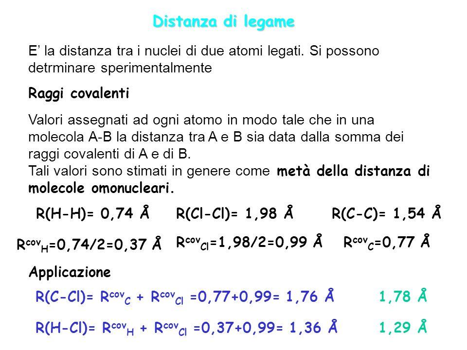 Distanza di legame E la distanza tra i nuclei di due atomi legati. Si possono detrminare sperimentalmente Raggi covalenti Valori assegnati ad ogni ato
