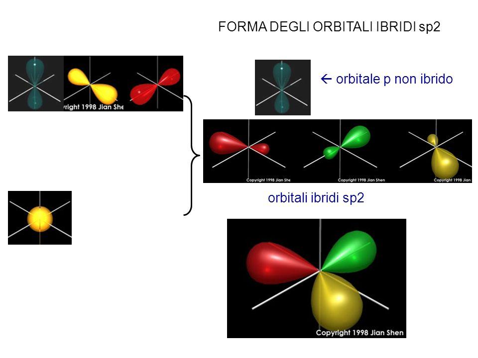 FORMA DEGLI ORBITALI IBRIDI sp2 orbitale p non ibrido orbitali ibridi sp2