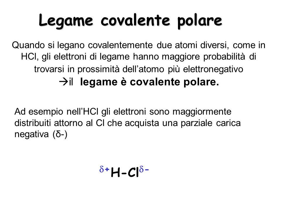 Legame covalente polare Quando si legano covalentemente due atomi diversi, come in HCl, gli elettroni di legame hanno maggiore probabilità di trovarsi in prossimità dellatomo più elettronegativo il legame è covalente polare.