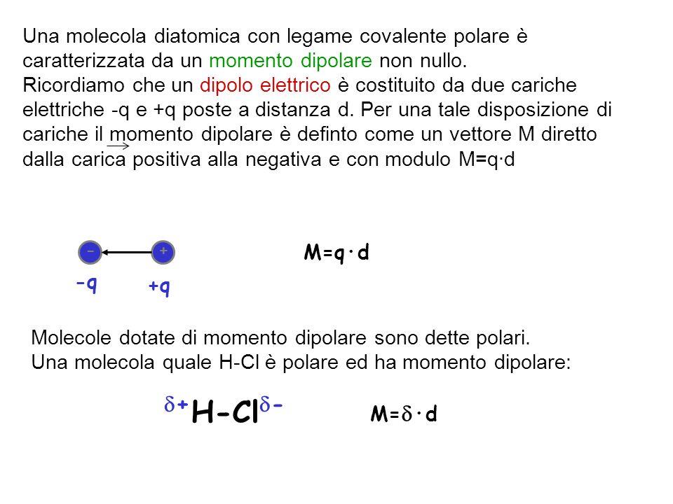 Una molecola diatomica con legame covalente polare è caratterizzata da un momento dipolare non nullo. Ricordiamo che un dipolo elettrico è costituito