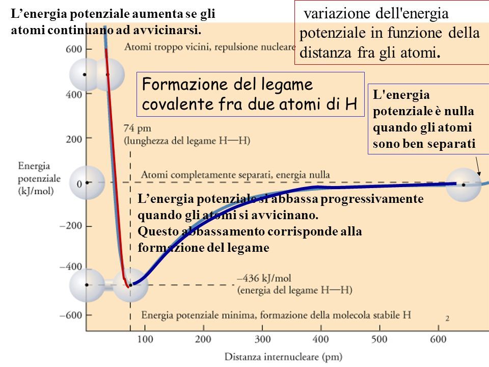 variazione dell'energia potenziale in funzione della distanza fra gli atomi. L'energia potenziale è nulla quando gli atomi sono ben separati Lenergia
