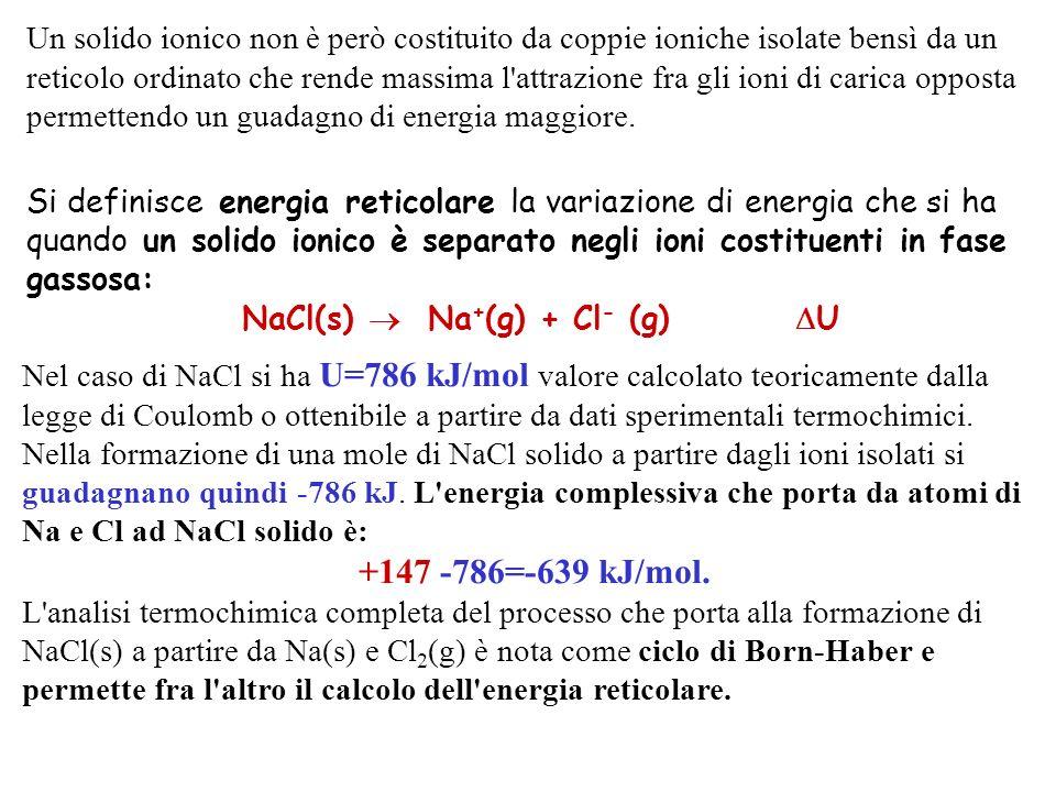 Un solido ionico non è però costituito da coppie ioniche isolate bensì da un reticolo ordinato che rende massima l'attrazione fra gli ioni di carica o