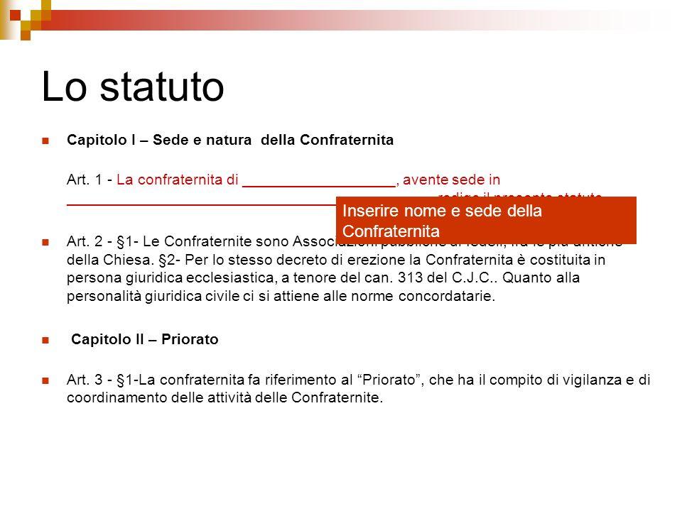 Lo statuto Capitolo I – Sede e natura della Confraternita Art. 1 - La confraternita di __________________, avente sede in ____________________________