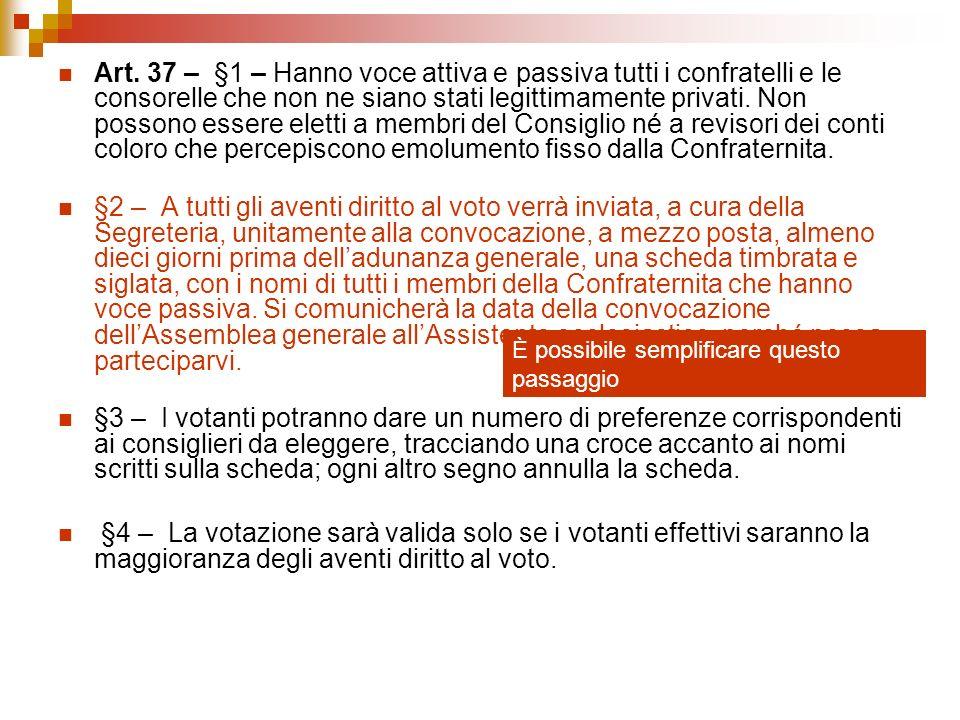 Art. 37 – §1 – Hanno voce attiva e passiva tutti i confratelli e le consorelle che non ne siano stati legittimamente privati. Non possono essere elett