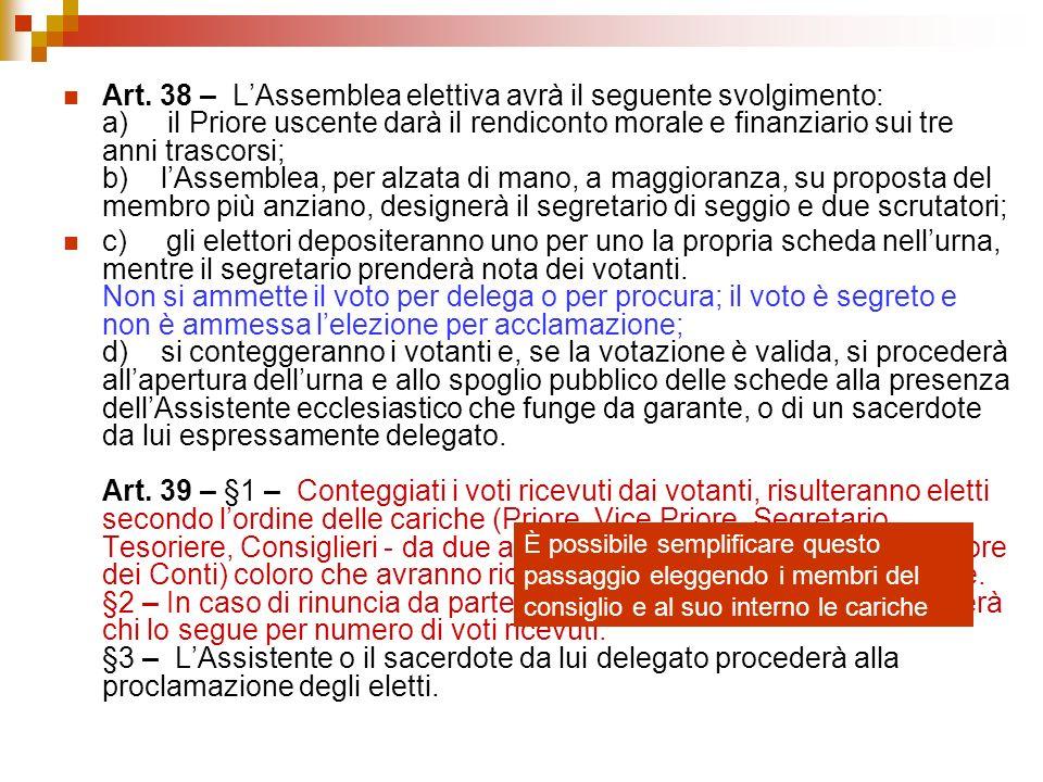 Art. 38 – LAssemblea elettiva avrà il seguente svolgimento: a) il Priore uscente darà il rendiconto morale e finanziario sui tre anni trascorsi; b) lA