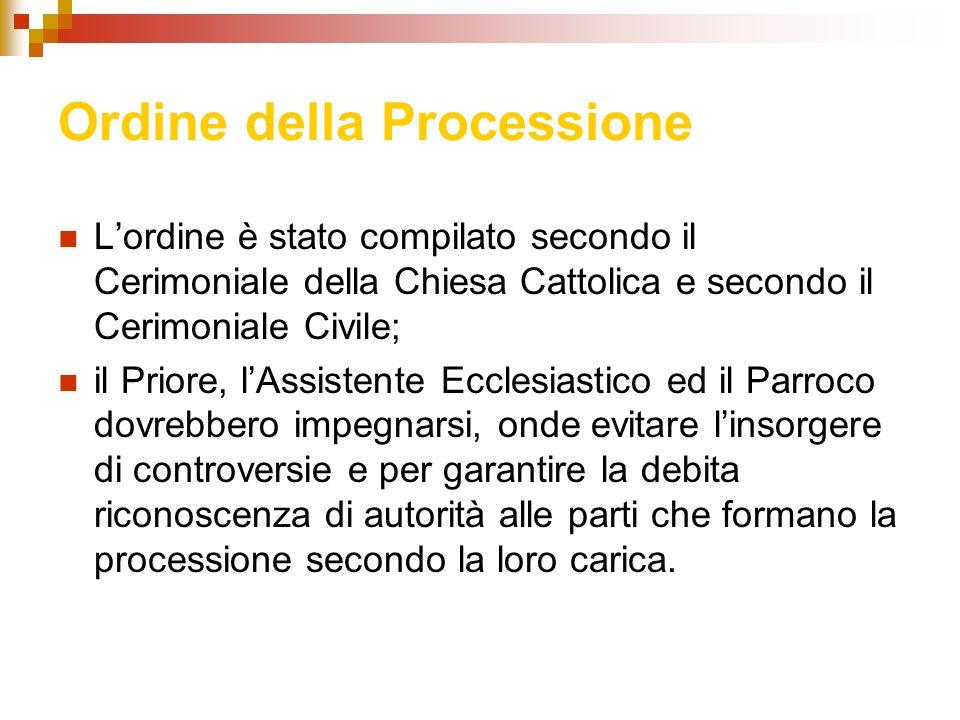 Ordine della Processione Lordine è stato compilato secondo il Cerimoniale della Chiesa Cattolica e secondo il Cerimoniale Civile; il Priore, lAssisten