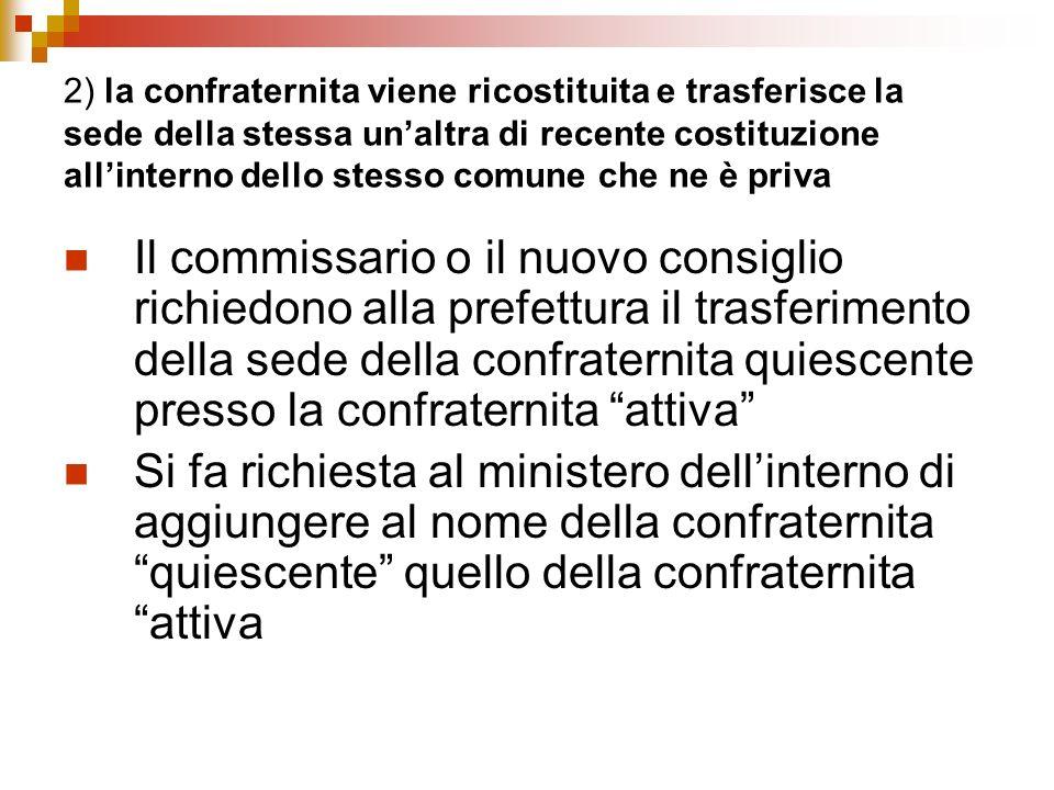 2) la confraternita viene ricostituita e trasferisce la sede della stessa unaltra di recente costituzione allinterno dello stesso comune che ne è priv