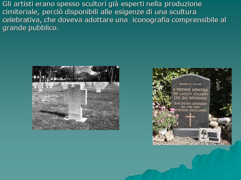 Gli artisti erano spesso scultori già esperti nella produzione cimiteriale, perciò disponibili alle esigenze di una scultura celebrativa, che doveva a