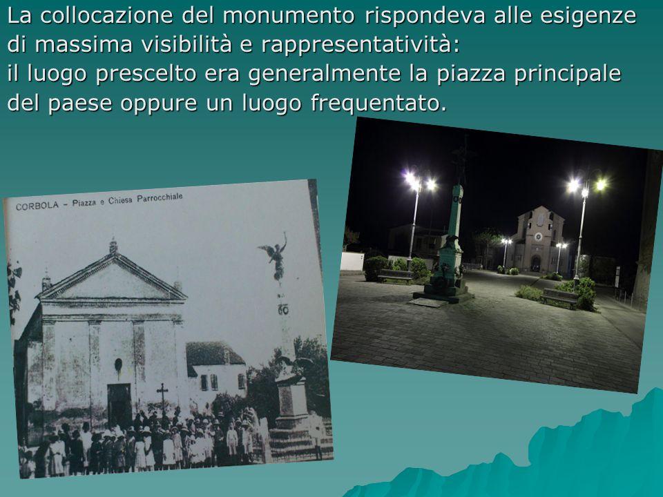 La collocazione del monumento rispondeva alle esigenze di massima visibilità e rappresentatività: il luogo prescelto era generalmente la piazza princi