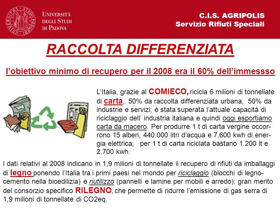 C.I.S. AGRIPOLIS Servizio Rifiuti Speciali LItalia, grazie al COMIECO, ricicla 6 milioni di tonnellate di carta, 50% da raccolta differenziata urbana,