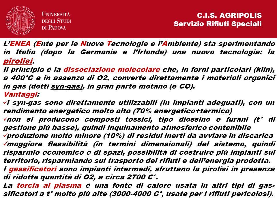 C.I.S. AGRIPOLIS Servizio Rifiuti Speciali LENEA (Ente per le Nuove Tecnologie e lAmbiente) sta sperimentando in Italia (dopo la Germania e lIrlanda)