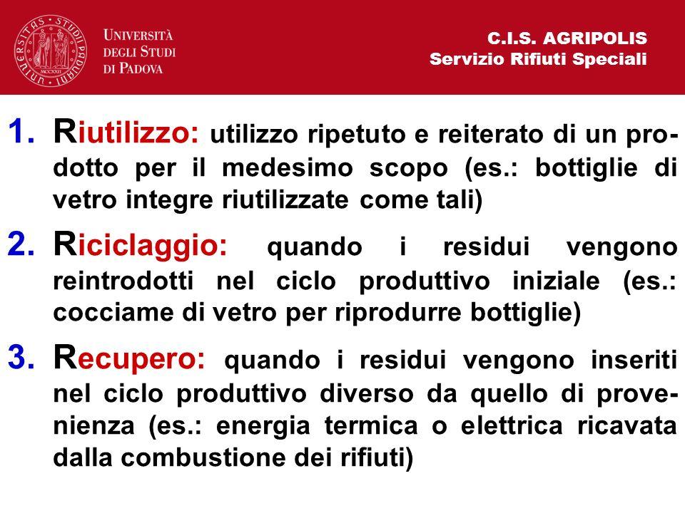 C.I.S. AGRIPOLIS Servizio Rifiuti Speciali 1.R iutilizzo: utilizzo ripetuto e reiterato di un pro- dotto per il medesimo scopo (es.: bottiglie di vetr