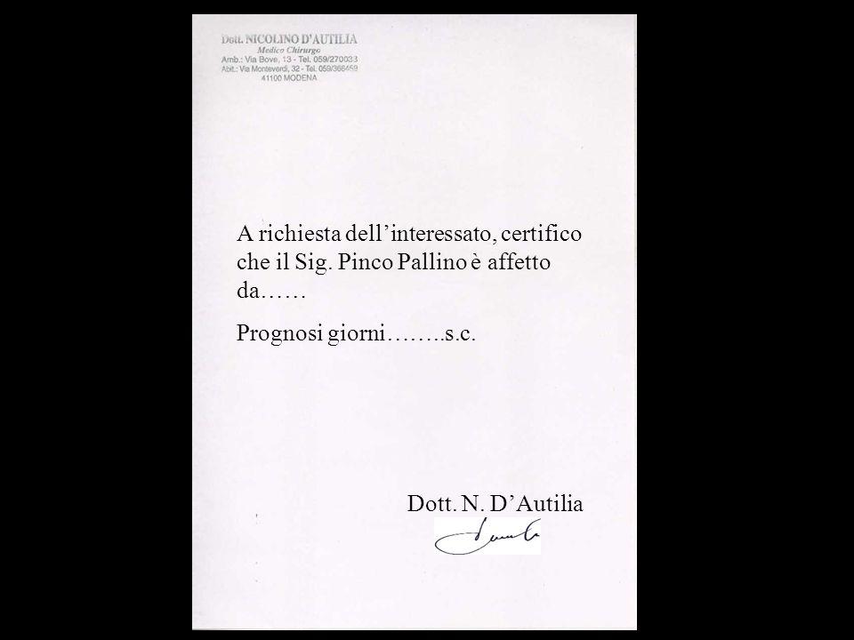 A richiesta dellinteressato, certifico che il Sig. Pinco Pallino è affetto da…… Prognosi giorni……..s.c. Dott. N. DAutilia