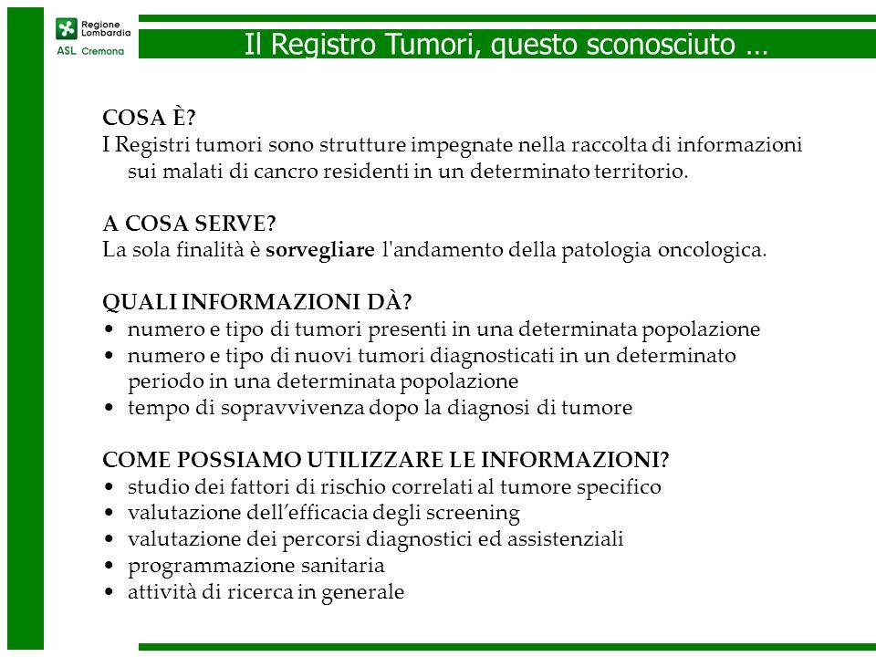 Il Registro Tumori di Cremona Stime di incidenza 2005 – 2006 (in corso controlli).