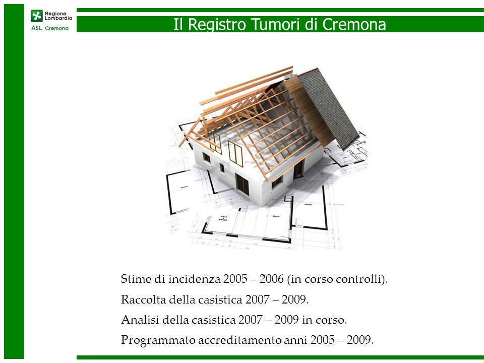 Il Registro Tumori di Cremona Stime di incidenza 2005 – 2006 (in corso controlli). Raccolta della casistica 2007 – 2009. Analisi della casistica 2007
