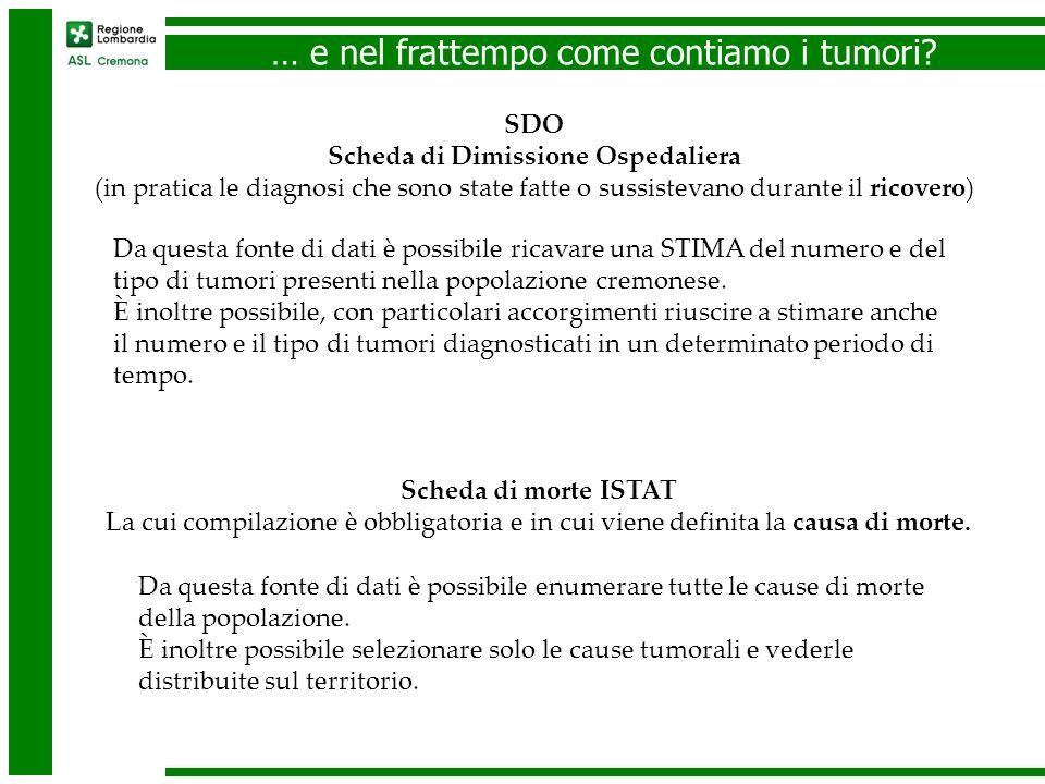 … e nel frattempo come contiamo i tumori? Da questa fonte di dati è possibile ricavare una STIMA del numero e del tipo di tumori presenti nella popola